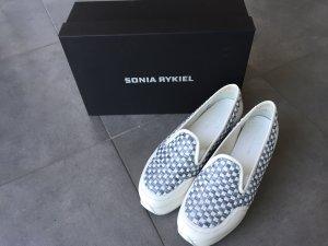 SONIA RYKIEL Damen Halbschuhe Schuhe Loafer Slipper in weiß-grau, Gr. 41 *top*