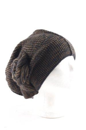 Sonia Rykiel Cappello a maglia marrone chiaro-nero puntinato stile classico