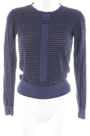 Sonia Rykiel T-shirts en mailles tricotées bleu foncé-noir motif rayé