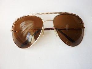Sonnenbrille Aviator golden braune Gläser