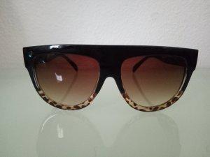 Sonnenbrille Brille Schwarz Braun Blogger XXL Leo