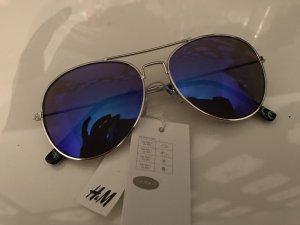 H&M Pilotenbril zilver-blauw