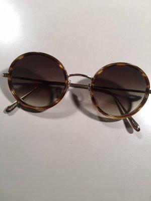 Gafas de sol redondas marrón-color oro metal