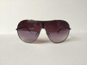Sonnenbrille Gestell schwarz Strasssteine Glas dunkellila schwarz verspiegelt