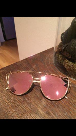 Sonnenbrille Gold Rosa verspiegelt neu