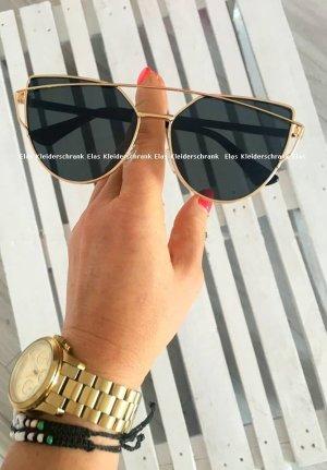 Sonnenbrille gold / schwarz Edelstahl Blogger Brille Sommerurlaub XL Gläser Neu