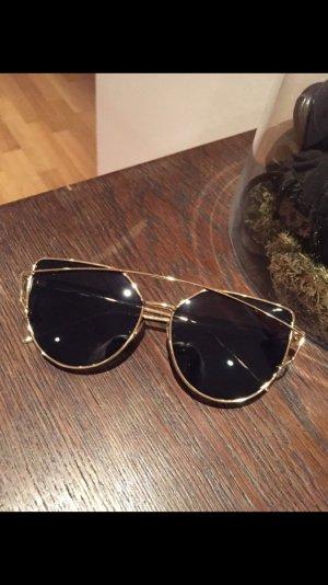 Sonnenbrille Gold Schwarz neu