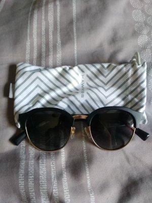 Ronde zonnebril zwart-goud