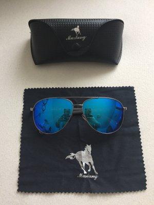Sonnenbrille Mustang Pilotenbrille Original metallic blau