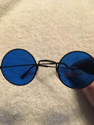 Ronde zonnebril blauw-zwart