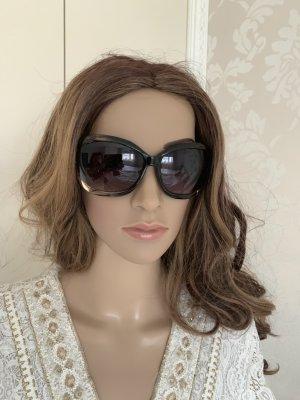Gafas de sol ovaladas marrón oscuro-color oro