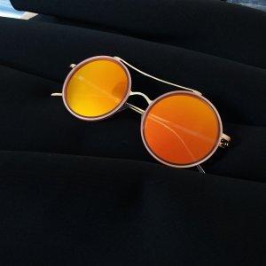Lunettes de soleil rondes orange-jaune
