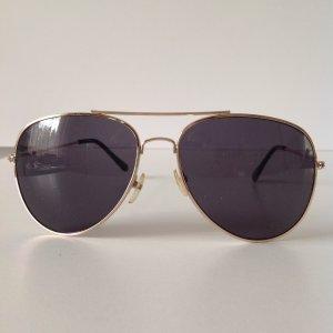 Sonnenbrille/Pilotenbrille in gold/dunkelblau