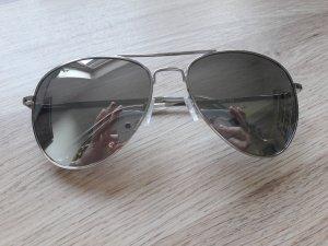 Sonnenbrille Pilotenbrille silber verspiegelt grau wie neu