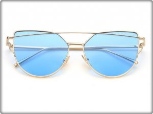 Glasses light blue-gold-colored