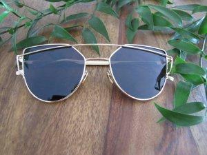 Sonnenbrille schwarz gold Blogger Cateye neu
