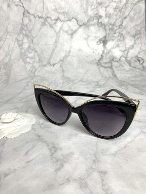Sonnenbrille Schwarz gold neu Cateye elegant classy