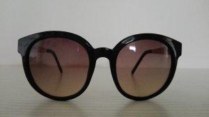 Sonnenbrille, schwarz-goldfarbenes Kunststoff-Metallgestell