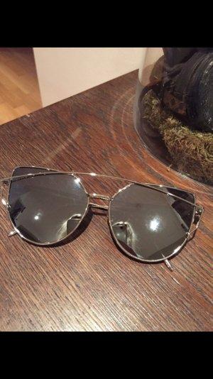 Sonnenbrille Silber/Silber verspiegelt neu