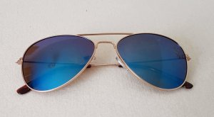 Angular Shaped Sunglasses gold-colored-blue
