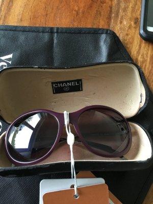 Chanel Occhiale da sole rotondo bordeaux-argento