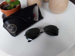 Ray Ban Pilotenbril zwart-zilver Glas