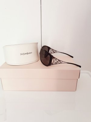Yves Saint Laurent Oval Sunglasses black-silver-colored synthetic material