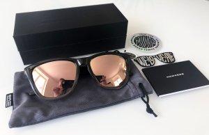 Hoekige zonnebril zwart-nude