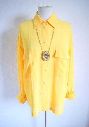 Sonnengelbe Bluse, oversized Bluse transparent, Festival blogger