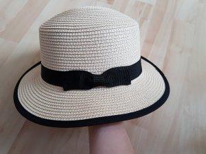 Cappello di paglia nero-beige chiaro