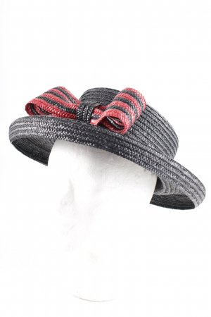 Cappello di paglia talpa-rosso scuro motivo a righe look vintage