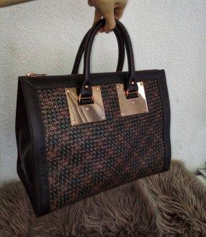 Sophie Hulme Zip Top Bowling Bag (Khaki Weave)