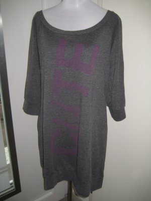 Soprtliches Kleid Langarm Grau Lila Schriftzug Gr.XL