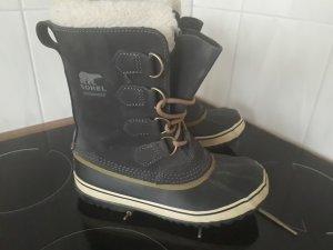 Sorel Snow Boots cream-dark blue leather