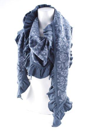 Sorgenfri Sylt Écharpe en tricot gris ardoise-bleu foncé imprimé abstrait