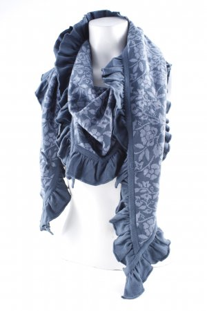 Sorgenfri Sylt Strickschal graublau-dunkelblau abstrakter Druck Boho-Look