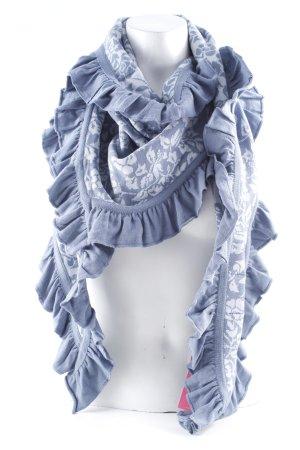 Sorgenfri Sylt Écharpe en tricot bleu azur-gris clair imprimé abstrait