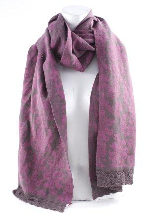 Sorgenfri Sylt Écharpe en tricot violet-taupe imprimé abstrait style Boho