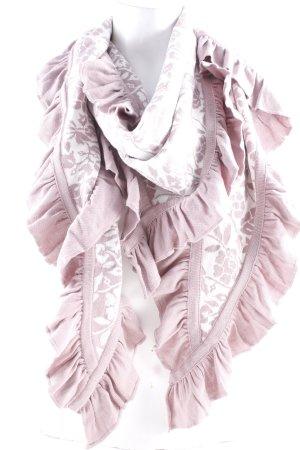Sorgenfri Sylt Bufanda de punto blanco-rosa empolvado estampado abstracto