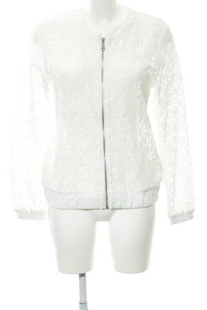 Soyaconcept Blusenjacke weiß florales Muster Spitzen-Optik