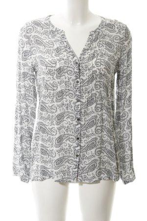 Soyaconcept Langarm-Bluse weiß-schwarz florales Muster Casual-Look