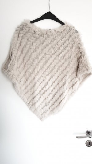 Soyaconcept Poncho 》beige 》Echtfell Hase