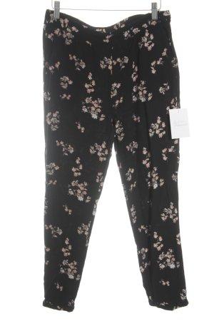 Soyaconcept Stoffhose schwarz-rosé Blumenmuster minimalistischer Stil