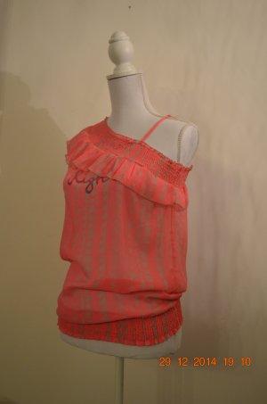 Haut à fines bretelles rose-blanc polyester