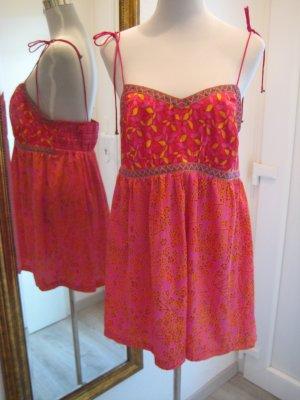 Spagettiträger Kleid Satin Orange Pink Gr 44