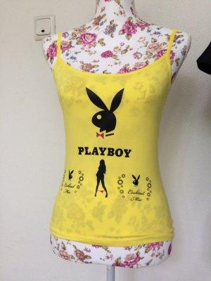 Playboy Top con bretelline giallo-nero