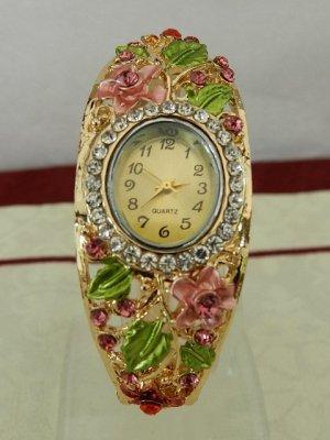 Spangen Armbanduhr mit Blüten,Blättern und Kristallen - Neu