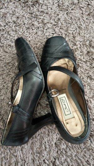 Janet D Backless Pumps black leather