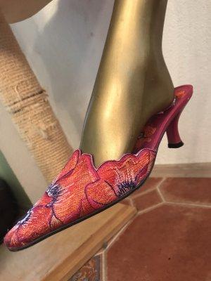 Sandales à talons hauts magenta-orange