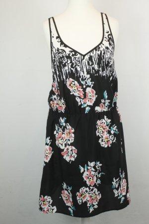 Sparkle & Fade by Urban Outfitters Kleid Minikleid Gr. S schwarz weiß bunt Blumen Spitze am Rücken
